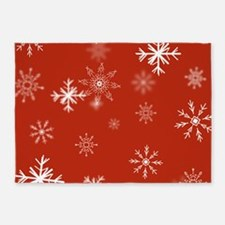 Christmas Snowflakes: Red Backgroun 5'x7'Area Rug