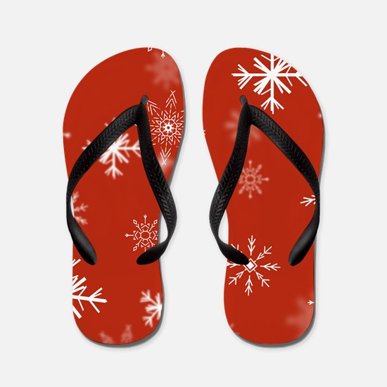 Christmas Snowflakes: Red Background Flip Flops