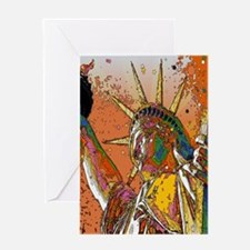 Modern urban Statue of Liberty Greeting Cards