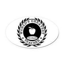World's Greatest 7th Grade Teacher Oval Car Magnet