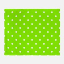 Green, Lime: Polka Dots Pattern (Sma Throw Blanket