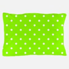 Green, Lime: Polka Dots Pattern (Small Pillow Case
