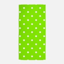 Green, Lime: Polka Dots Pattern (Small Beach Towel