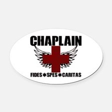Winged Cross Chaplain Oval Car Magnet