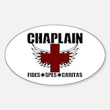 Winged Cross Chaplain Sticker (oval)