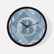 B Monogram - Letter B - Blue Wall Clock
