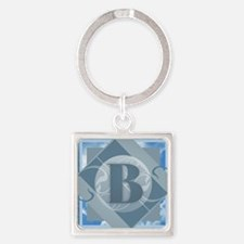 B Monogram - Letter B - Blue Keychains