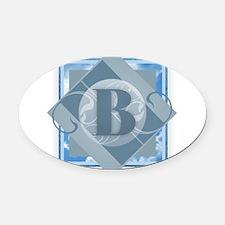 B Monogram - Letter B - Blue Oval Car Magnet