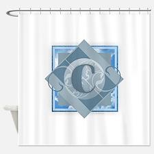 C Monogram - Letter C - Blue Shower Curtain