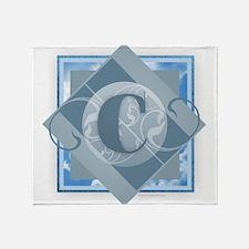 C Monogram - Letter C - Blue Throw Blanket