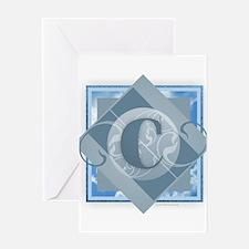 C Monogram - Letter C - Blue Greeting Cards