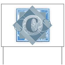 C Monogram - Letter C - Blue Yard Sign