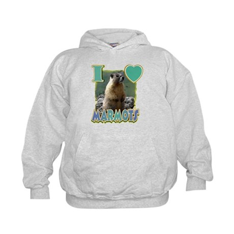 I Love ( Heart ) Marmots Kids Hoodie