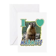I Love ( Heart ) Marmots Greeting Card