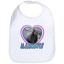 I Love ( Heart ) Marmots  Bib
