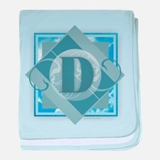 D Monogram - Letter D - Blue baby blanket