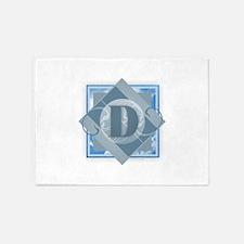 D Monogram - Letter D - Blue 5'x7'Area Rug