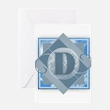 D Monogram - Letter D - Blue Greeting Cards