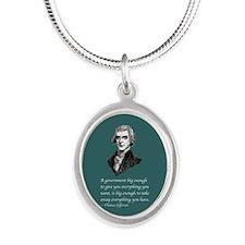 PRES03 BIG ENOUGH Silver Oval Necklace