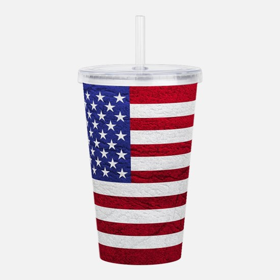 USA FLAG LEATHER Acrylic Double-wall Tumbler