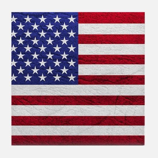 USA FLAG LEATHER Tile Coaster