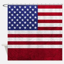 USA FLAG LEATHER Shower Curtain
