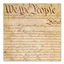 "US CONSTITUTION Square Car Magnet 3"" x 3"""