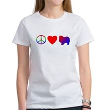 Peace, Love, Keeshond Women's TShirt