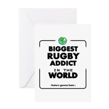 Biggest Rugby Addict in the World Greeting Cards