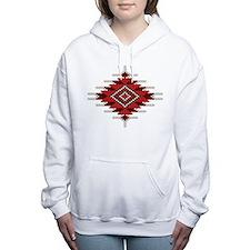 Native Red Seed Bead Des Women's Hooded Sweatshirt