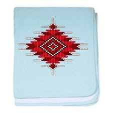 Native Red Seed Bead Design baby blanket