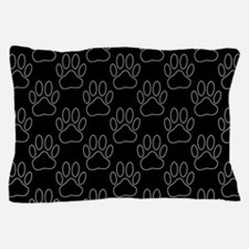 White Dog Paws In Black Background Pillow Case