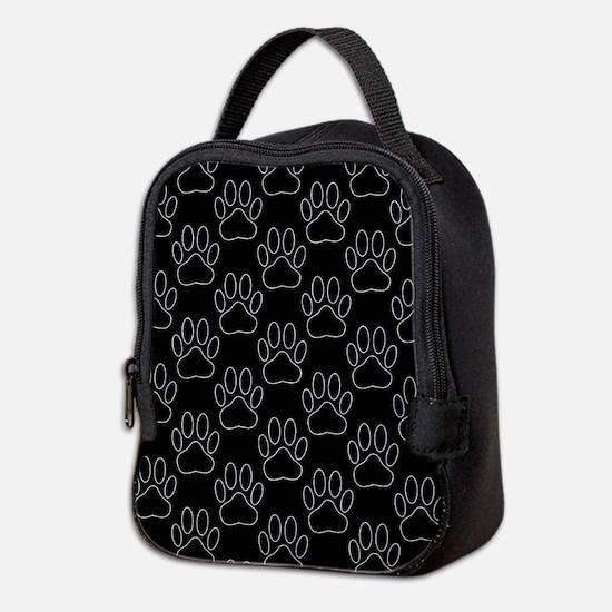 White Dog Paws In Black Backgro Neoprene Lunch Bag