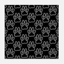 White Dog Paws In Black Background Tile Coaster