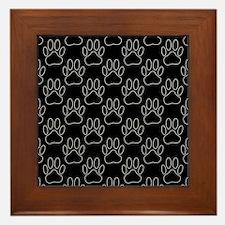 White Dog Paws In Black Background Framed Tile