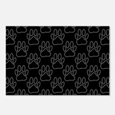 White Dog Paws In Black B Postcards (Package of 8)