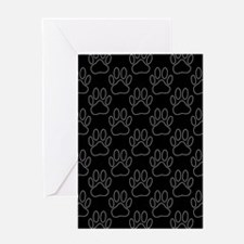 White Dog Paws In Black Background Greeting Cards