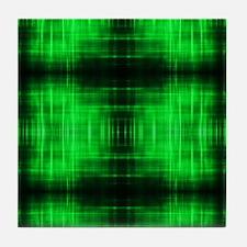 tribal neon green batik Tile Coaster