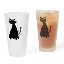 Black Fat Cat With Green Eyes Drinking Glass