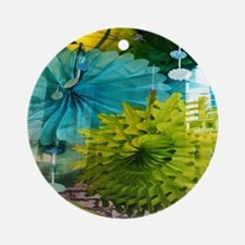 mint lime green teal abstract Round Ornament