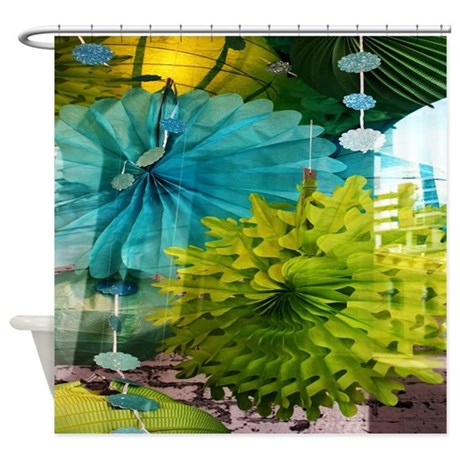 mint lime green teal abstract shower curtain