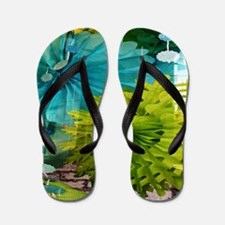 mint lime green teal abstract Flip Flops