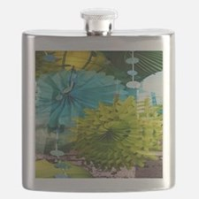 mint lime green teal abstract Flask
