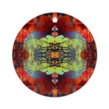 exotic hipster orange batik Round Ornament