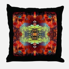 exotic hipster orange batik Throw Pillow