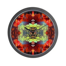 exotic hipster orange batik Wall Clock