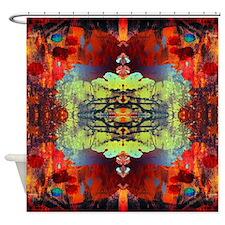 exotic hipster orange batik Shower Curtain