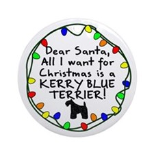 Dear Santa Kerry Blue Terrier Christmas Ornament