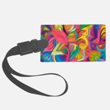 Psychedelic Painted Floral Arran Luggage Tag