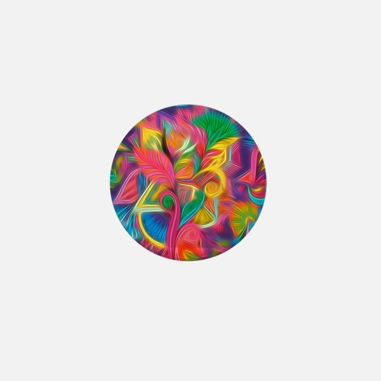 Psychedelic Painted Floral Mini Button (100 pack)